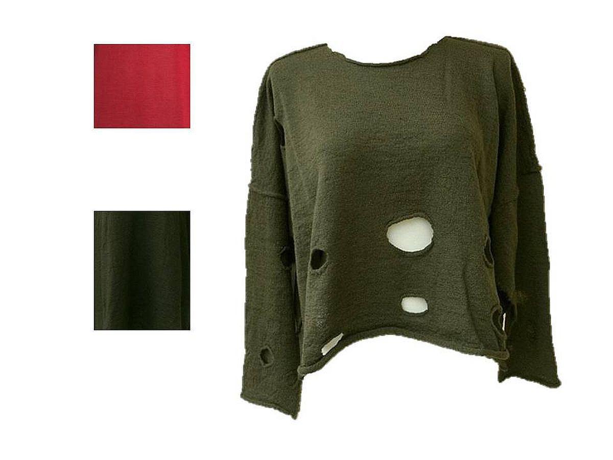 barbara speer lagenlook filz pullover mit l chern. Black Bedroom Furniture Sets. Home Design Ideas