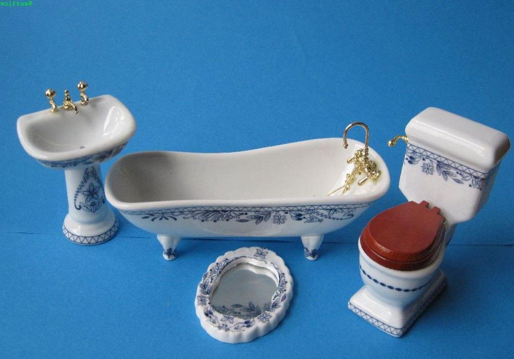 badezimmer blau porzellan ausstattung 4 teile puppenm bel 1 12 bei wossiland. Black Bedroom Furniture Sets. Home Design Ideas