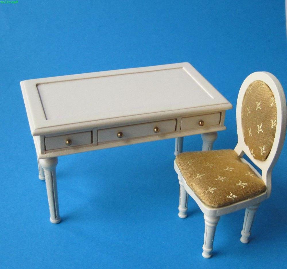 schreibtisch stuhl f r arbeitszimmer oder b ro louis xvi puppenm bel 1 12. Black Bedroom Furniture Sets. Home Design Ideas