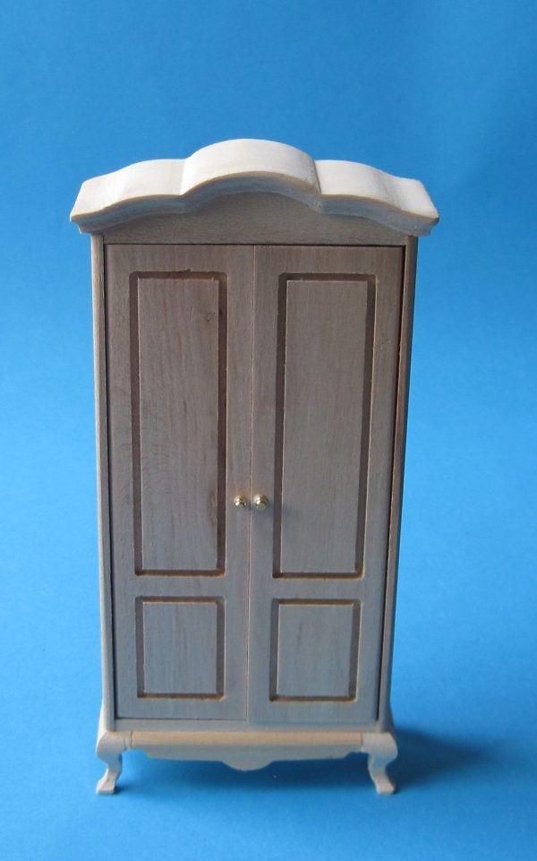kleiderschrank schlafzimmer naturholz puppenhausm bel 1 12. Black Bedroom Furniture Sets. Home Design Ideas