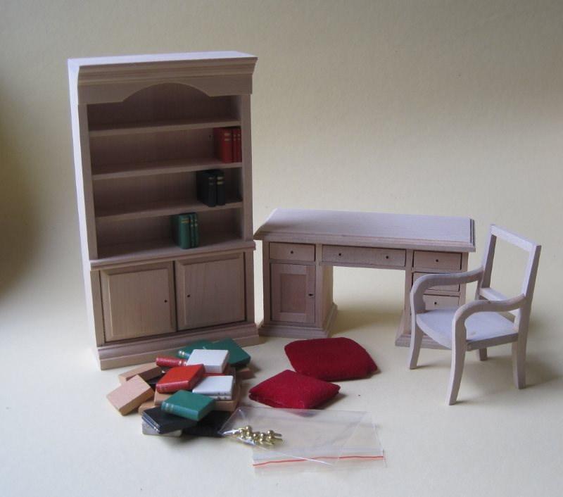 puppenhaus arbeitszimmer 1 12 zum selbstgestalten. Black Bedroom Furniture Sets. Home Design Ideas