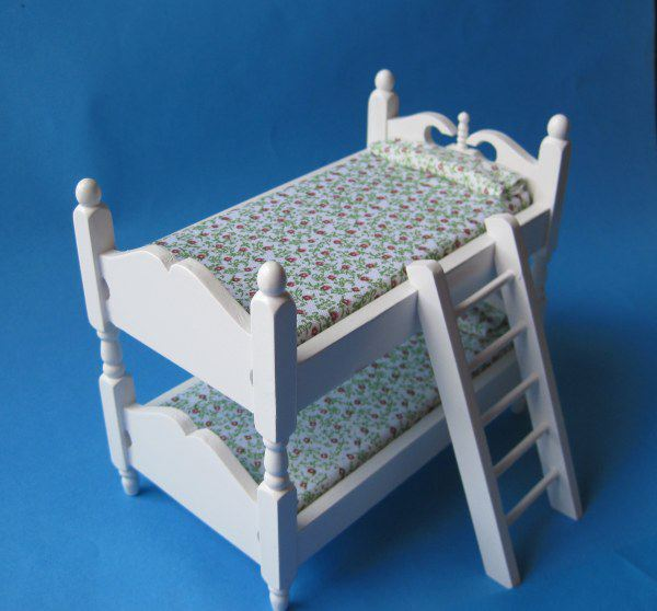 doppelstockbett weiss f r puppenhaus kinderzimmer m bel 1 12 bei wossiland. Black Bedroom Furniture Sets. Home Design Ideas