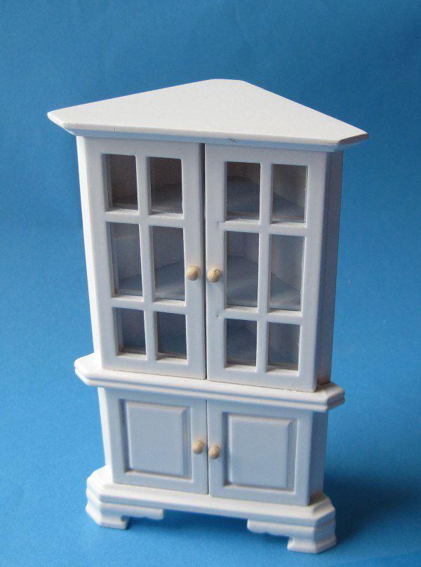 vitrine eckschrank weiss puppenhaus m bel f r wohnzimmer arbeitszimmer miniatur 1 12. Black Bedroom Furniture Sets. Home Design Ideas