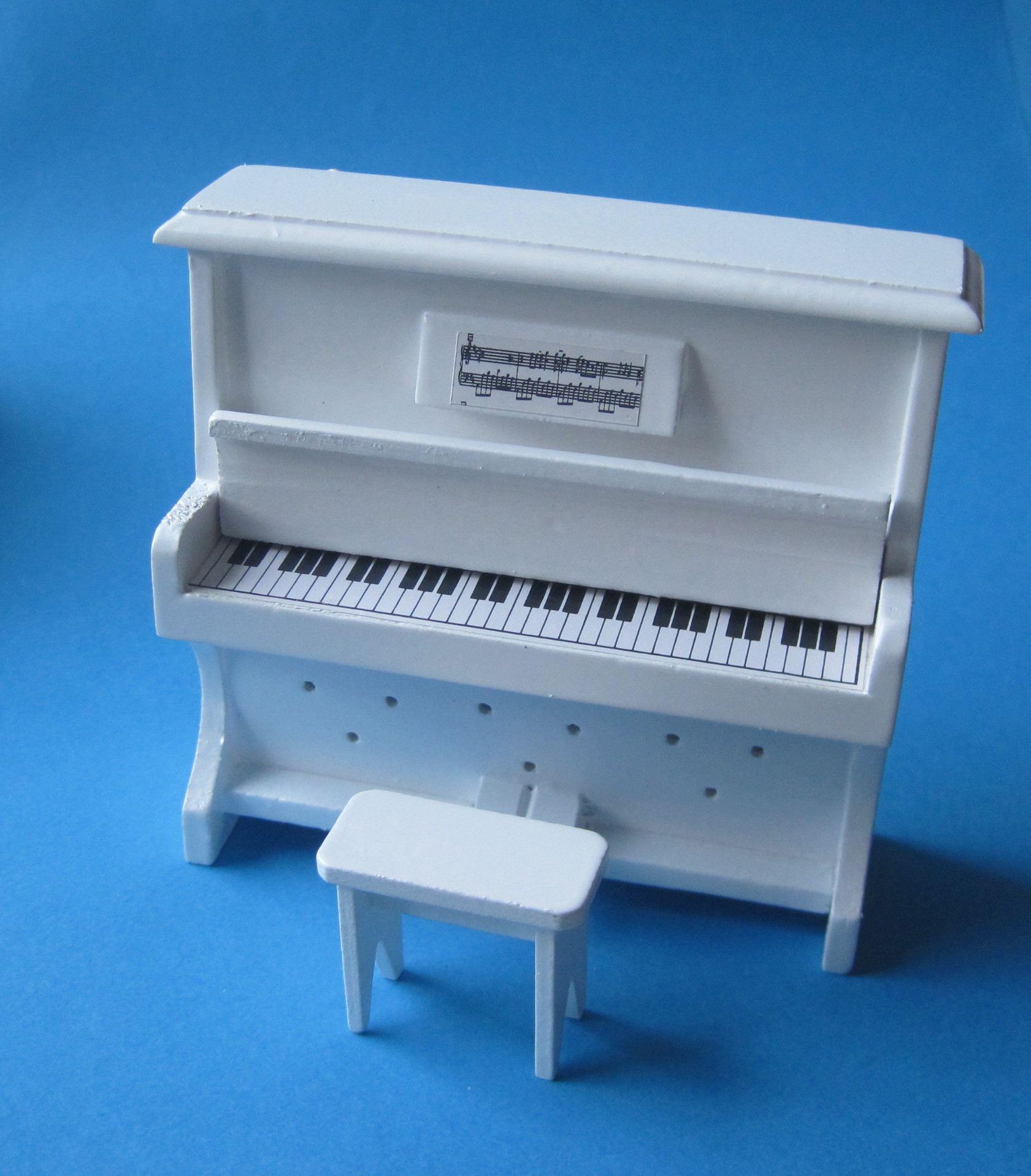 Klavier piano mit hocker weiss puppenhausmöbel miniatur 1:12 ...