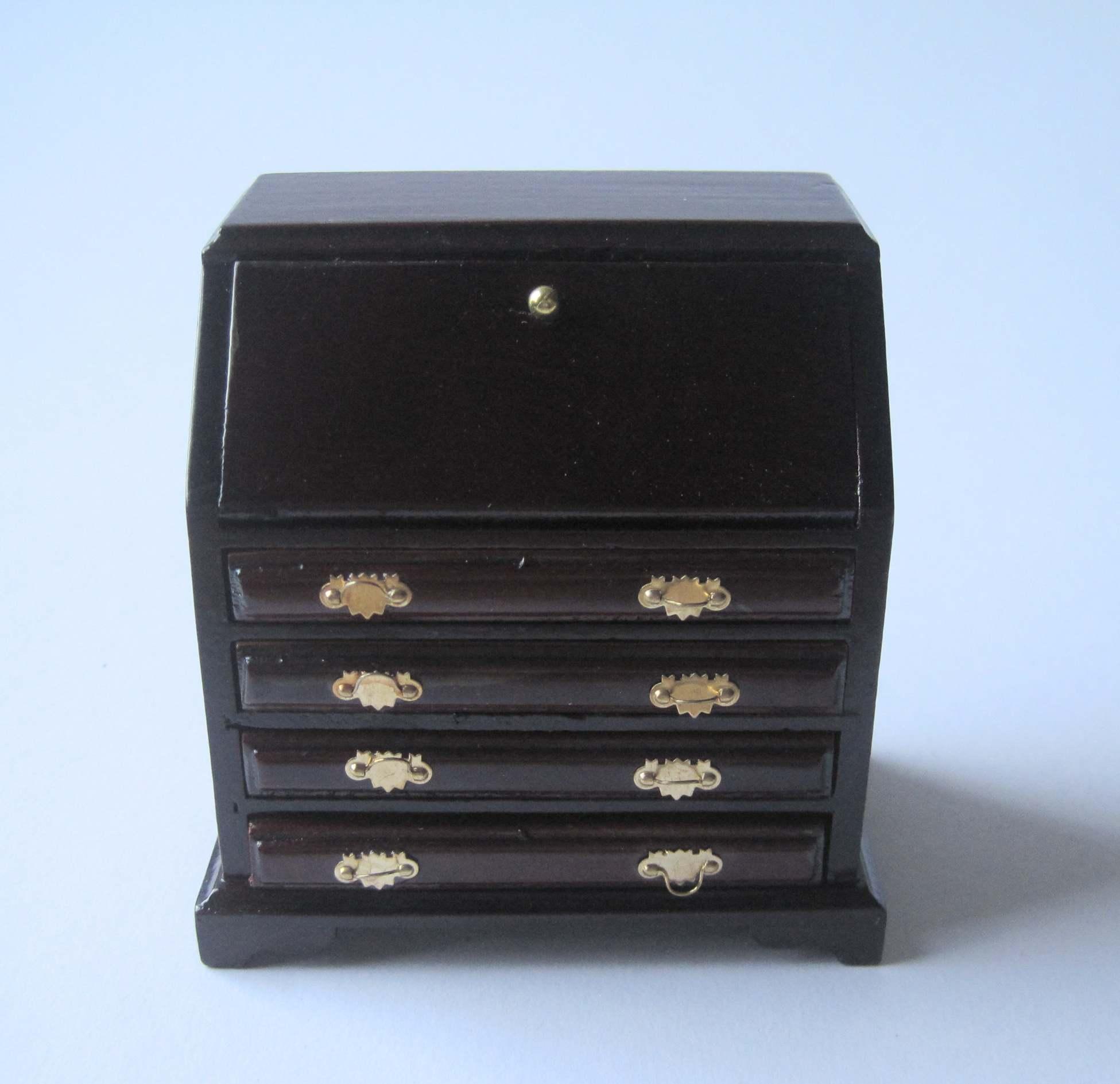 sekret r schreibtisch mahagoni puppenhaus m bel wohnzimmer miniatur 1 12 lafeo. Black Bedroom Furniture Sets. Home Design Ideas
