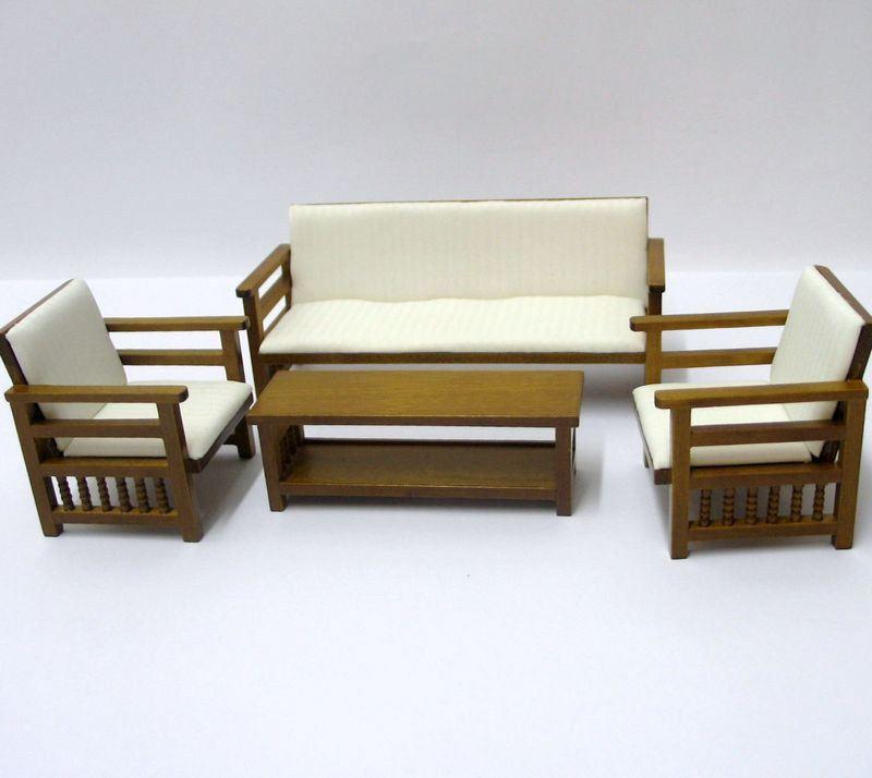 Puppenhaus Couchgarnitur Sofa Sessel Tisch beige Möbel Wohnzimmer ...