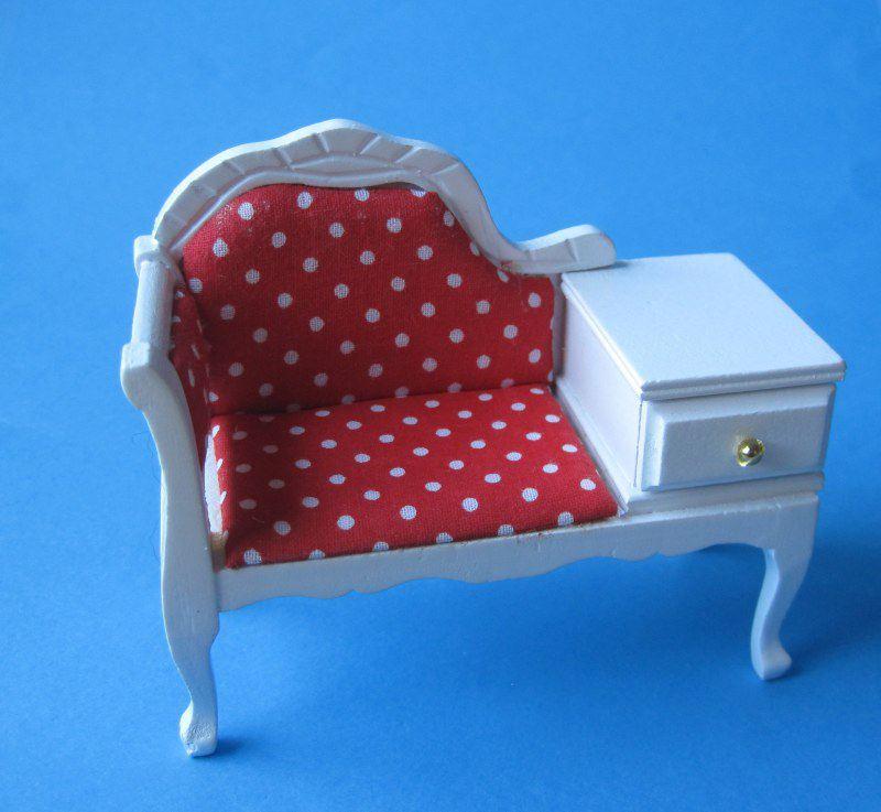 puppenhaus telefonbank telefonsofa weiss m bel miniaturen 1 12 puppenhausm bel b ro. Black Bedroom Furniture Sets. Home Design Ideas