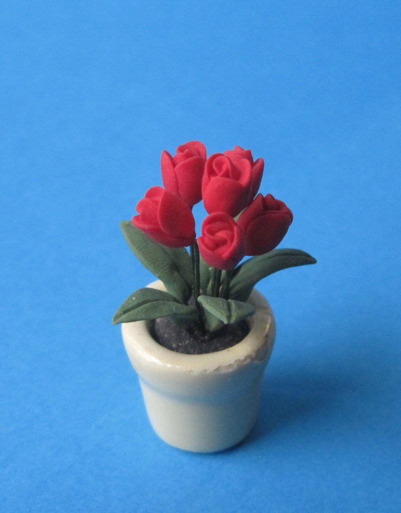Tulpen im blumentopf puppenhaus dekoration miniatur 1 12 for Blumentopf dekoration