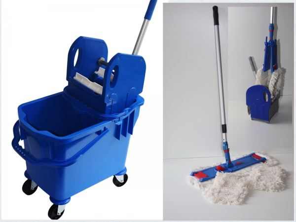 wischset vera blau laschenmop 50 cm putzeimer mit presse. Black Bedroom Furniture Sets. Home Design Ideas