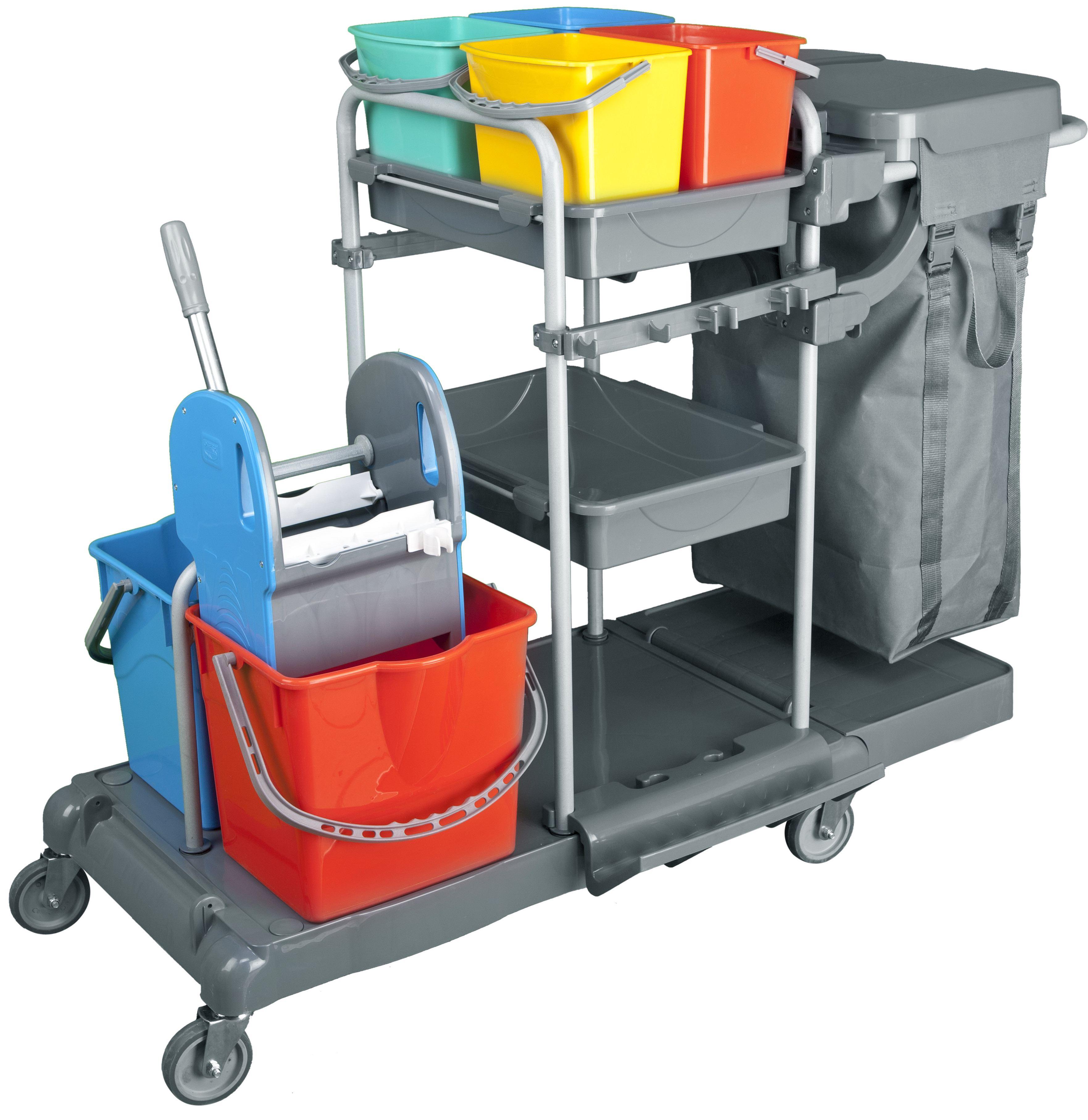 servicewagen cleansv pe reinigungswagen kunststoff putzwagen komplett ausgestattet 4 x 6 liter. Black Bedroom Furniture Sets. Home Design Ideas