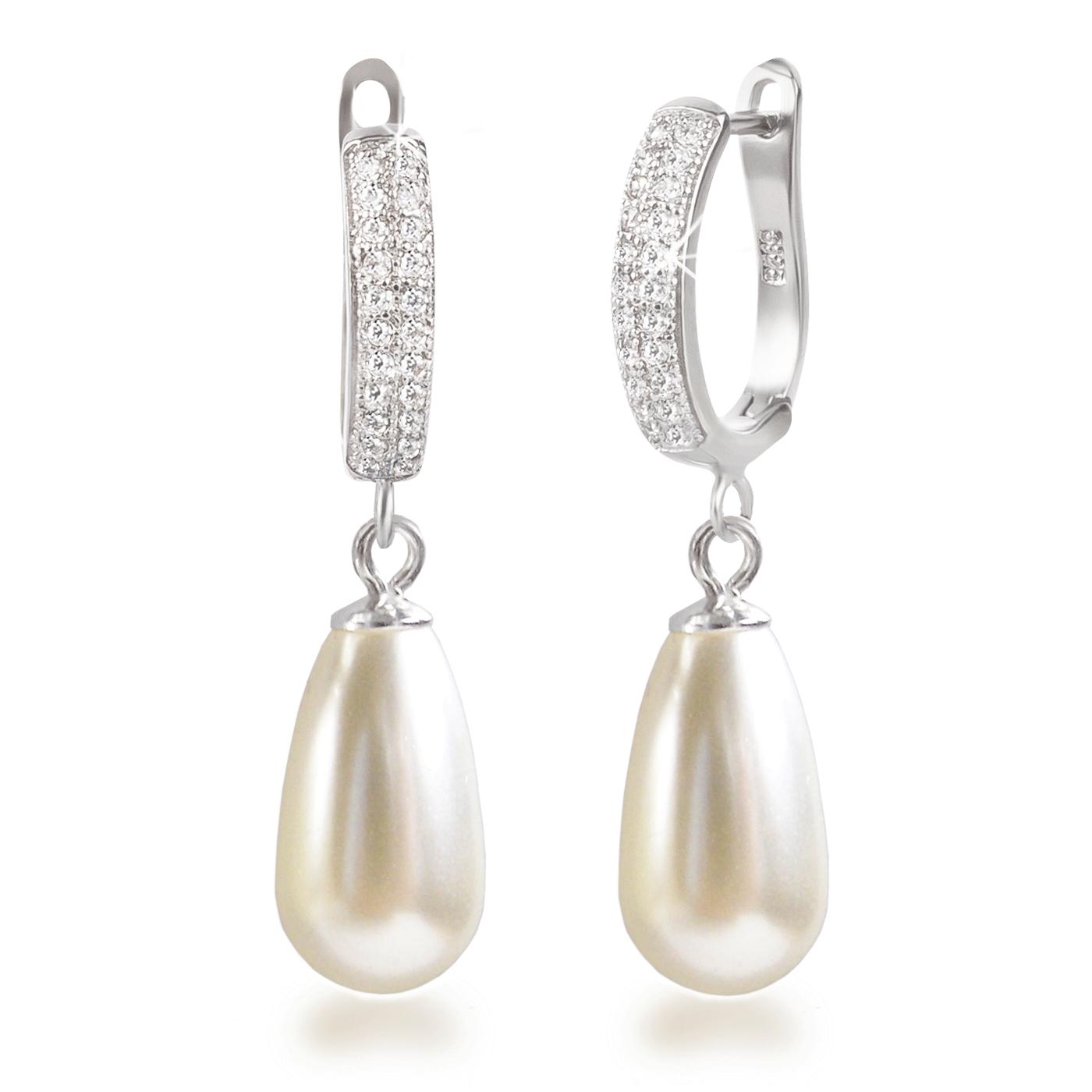 Perlenohrringe  Ohrhänger mit großen Tropfen Perlen cremeweiß, Perlenohrringe ...