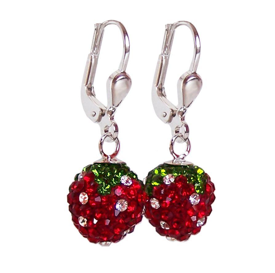 Zirkonia  Ohrringe Erdbeere aus 925 Silber und glitzernden Zirkonia ...