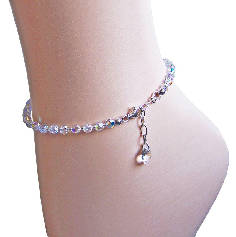 Fusskette  Fußkette aus Swarovski® Kristall Perlen und 925 Silber ...