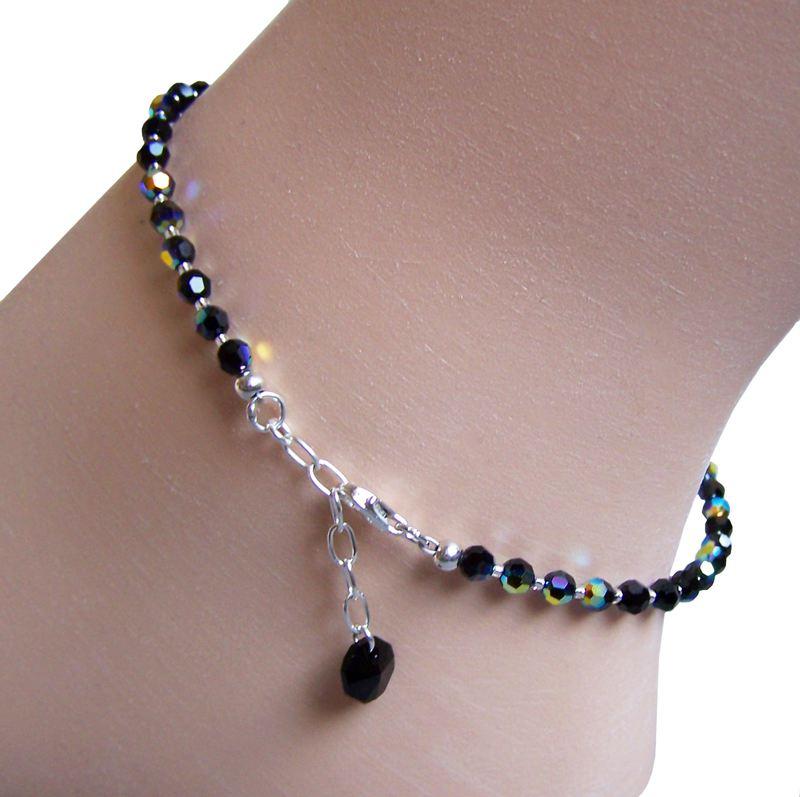 Fusskette  Fußkette aus Swarovski® Kristall Perlen schwarz und 925 Silber ...