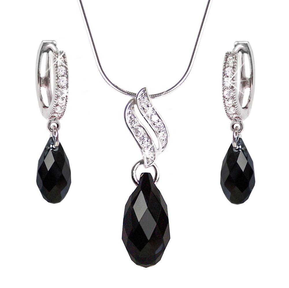 Schmuckset silber  Kollektionen: 925 Silber Schmuckset mit schwarzen Briolette ...