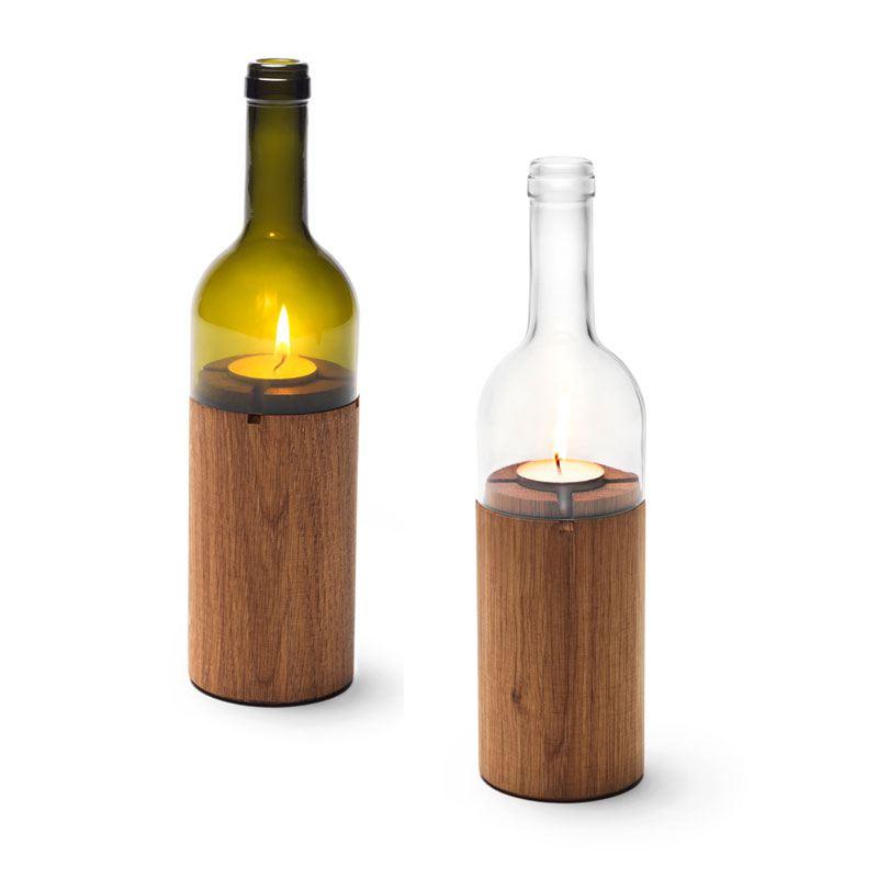 sidebyside design weinlicht windlicht aus weinflasche und holz. Black Bedroom Furniture Sets. Home Design Ideas