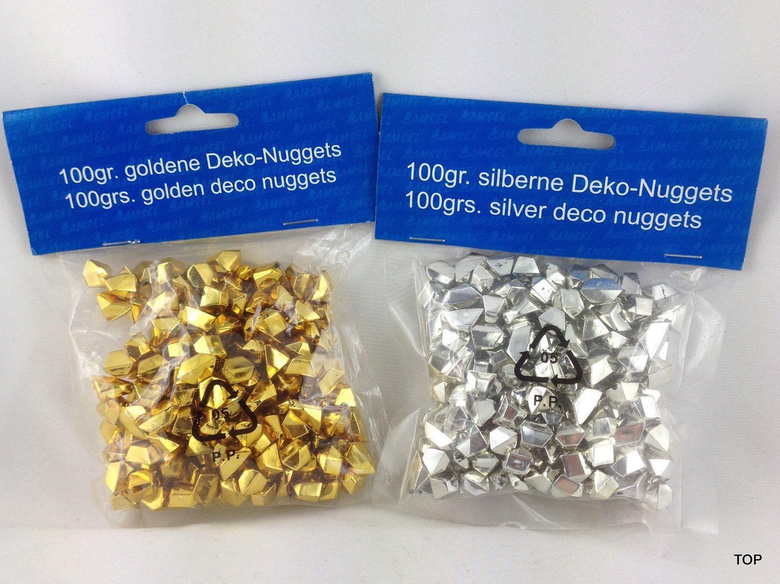deko nuggets dekosteine gold und silber streudeko goldene und solberne deko nuggets 100g. Black Bedroom Furniture Sets. Home Design Ideas