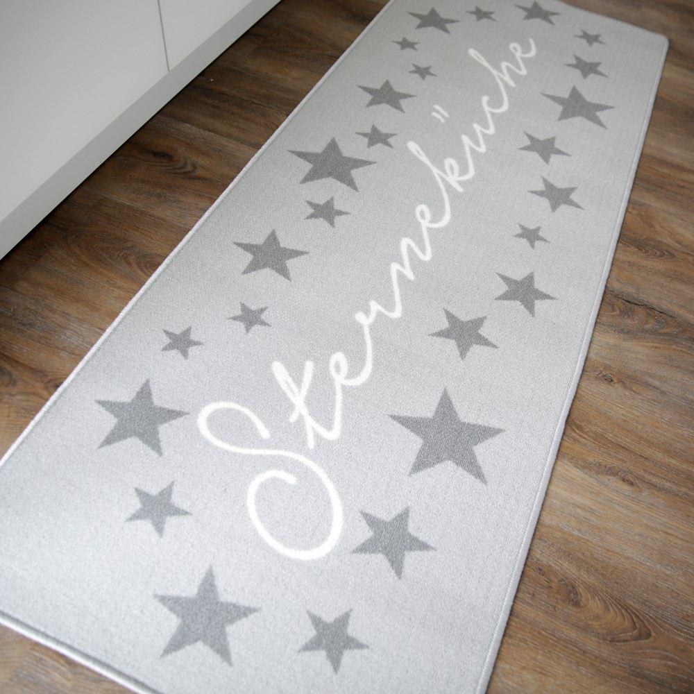küchenläufer sterneküche hellgrau teppich küche läufer sterne 180 ... - Teppiche Für Küche