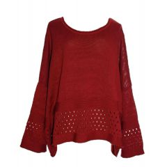 AKH Fashion - Lagenlook Pullover XL 48 50 rot
