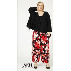 Lagenlook Hose Blumen rot AKH Fashion