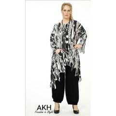 Lagenlook Tunika grau gezackt AKH Fashion