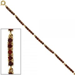 Armband 375 Gelbgold 50 Granate rot 18 cm - 2,8 mm Federring