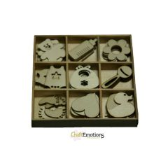 Holzornament Box Baby 45 pcs - box 10,5 x 10,5 cm