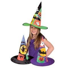 Hexenhut für Kinder mit Motiv - lila oder schwarz - Karneval Fasching Halloween