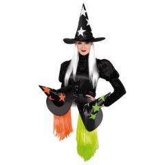Hexenhut (Erwachsene) - spitzer Hut mit Haaren - Karneval Fasching Halloween
