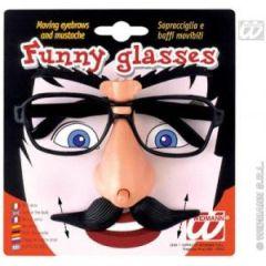 Brille - Scherzbrille mit beweglichen Augenbrauen und Bart