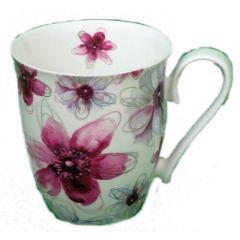 Jameson und Tailor, Becher Dekor Blüten Pink, Volumen  600 ml, Brillantporzellan