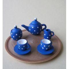 Teeservice blau mit Punkten und Tablett rund für Puppenstuben Miniaturen 1:12  Handarbeit Erzgebirge