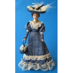 Dame Lady mit Handtasche im blauen Kleid Puppe für die Puppenstube Miniatur 1:12