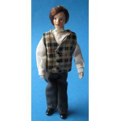 Puppe Mann mit karierter Weste für das Puppenhaus Miniaturen 1:12