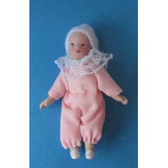 Baby Maedchen rosa Puppe für die Puppenstube Miniatur 1:12