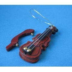 Mini Geige Violine mit Bogen Holz Musikinstrument Puppenhaus Miniaturen 1:12
