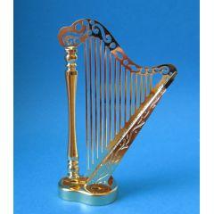 Puppenhaus Harfe Metall goldfarben Musikinstrument Miniaturen 1:12