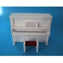 Klavier Piano weiss mit Hocker Puppenhaus Möbel Miniatur 1:12