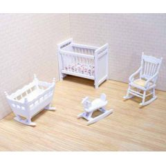 Puppenhaus Kinderzimmer weiss 4 Teile Puppenhausmöbel 1:12 Melissa & Doug