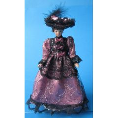 Dame Lady mit Hut elegant pink-schwarz Kleid Puppe für Puppenstube Miniatur 1:12