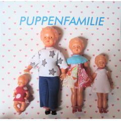 Puppenfamilie  4 Figuren Mutter Vater Kind Baby modern Miniaturen 1:12