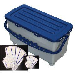 Procart Hermetic Eimer 22 Liter blau mit Deckel und 10 Stück 50 cm Baumwollmops Aqua