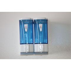 Seifenspender Wall DOPPEL mini für 2x250 ml blau transparent, aus Kunststoff für flüssig Seife