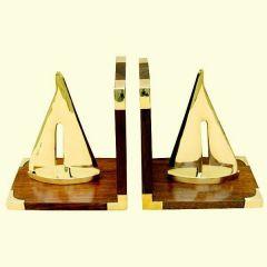 *Maritime Buchstützen aus Holz/Messing