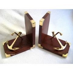 *Exclusive Buchstützen aus Holz/Messing mit Anker- Stockanker