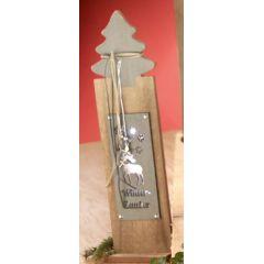 GILDE Deko-Ständer aus Holz mit Tannenbaum, Spruch und LED, 40 cm