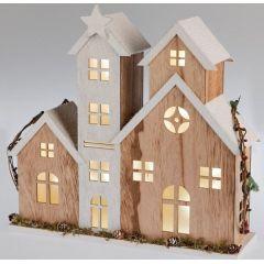 Beleuchtete Winterhäuser aus Holz mit LED Beleuchtung und Stern, 34 cm