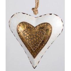 Nostalgischer Dekohänger Herz in Weiß Gold, 26 cm
