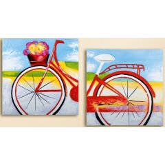 GILDE Wandbild Blumen Fahrrad auf Leinen, 2 tlg, 120 x 60 cm