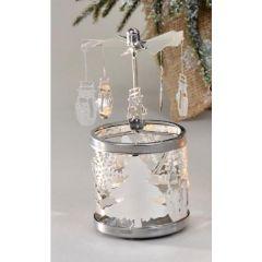 Dreh-Teelichtleuchter Schneemann in Silber
